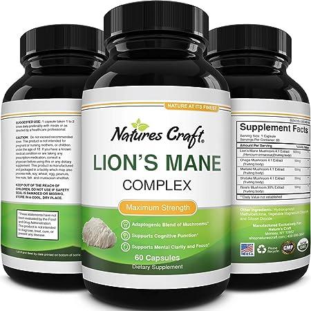 Nootropic Lions Mane Mushroom Capsules - Lion's Mane Mushroom Complex Immune System Booster and Brain Supplement - Mushroom Extract Focus Pills Brain Booster and Mood Support with Reishi Mushroom