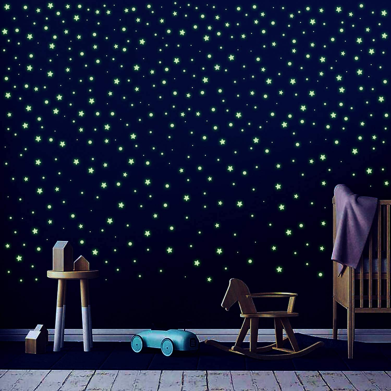 WATINC 1248Pcs 3D Glow in The Dark Stickers Domed Dots Stars Realistic Glowing Decor Sticker for Kids Room Ceiling Wall Decals Decorations for Christmas Party Birthday Gift for Little Girls Boys