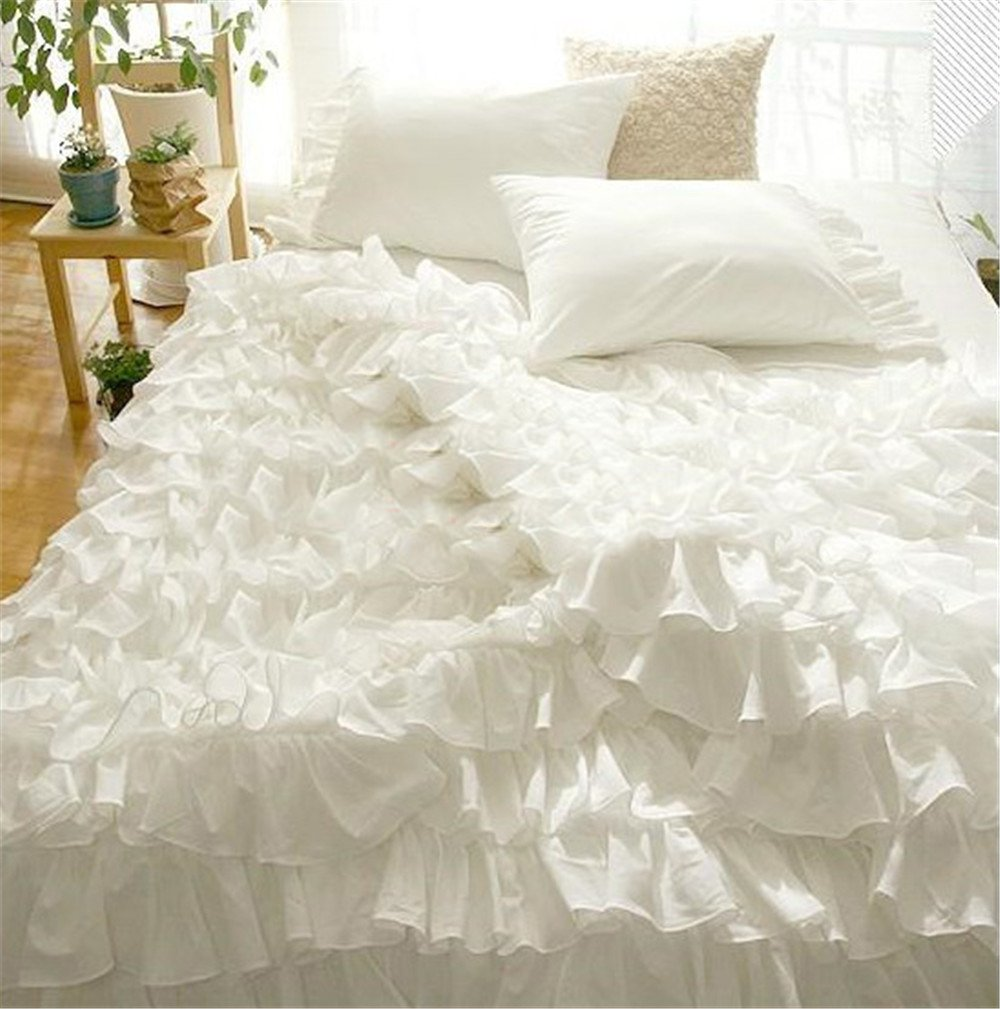Lotus Karen Home Textile Solid White Ruffles Wedding Bedding Ruffles Korean Bedding Set For Girls Bedding Full 4PC Cotton Duvet Cover Set,1Duvet Cover,1Bedskirt,2Pillowcases Queen