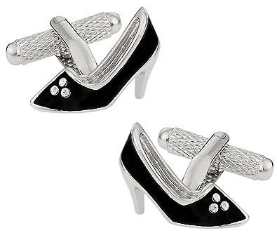 d8c0536f23a0a Amazon.com: Cuff-Daddy Womens Black High Heel Shoe Silver Cufflinks ...