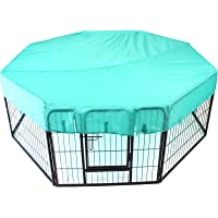 Heavy Duty Pet Dog PlayPen + Waterproof Cover | Puppy Exercise Play Pen Fence Enclosure Gate 8 Panels Heavy-Duty Crate Cage (Small 60cm + Octagon Cover)