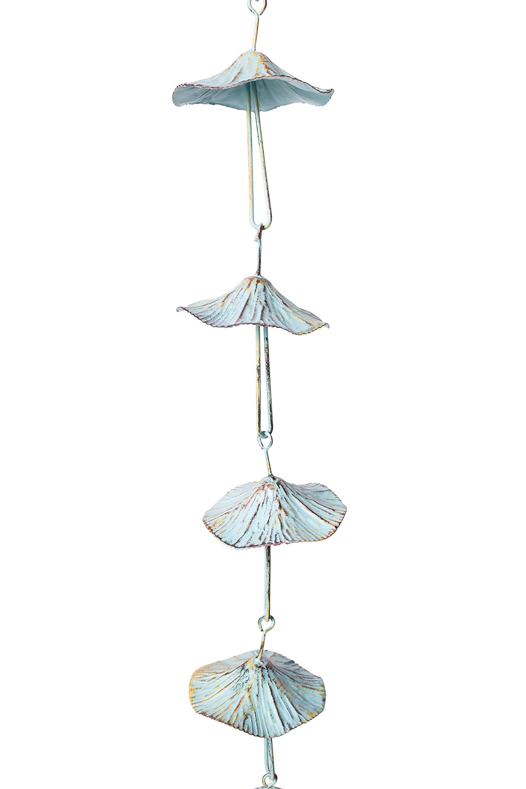 Lovely Decorative Mushroom Metal Rain Chain, Iron Rain Catcher Ornament, Green Patina Finish, Large 5 Feet