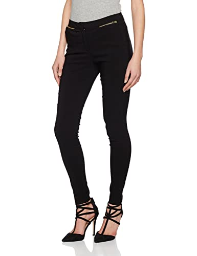 New Look Damen Hose Slim Bengaline Zip Schwarz, 36 EU,(8 UK)
