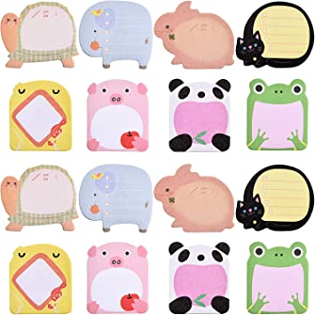 16 Pieces Self Sticky Notes Animals Shaped Sticky Notes Cartoon Sticky Notes for Students Home Office Roommates Gifts Bookmarks and Index Tab Supplies