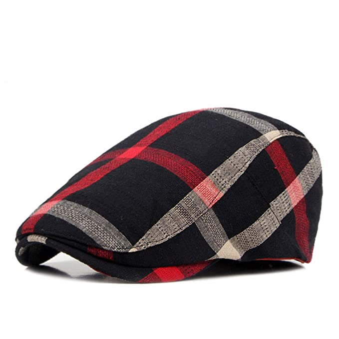 Unisex Classic Plaid Berets Caps for Men Casual Cotton Flat Cap Women Newsboys Gatsby Casquette Gorras Cap Black at Amazon Womens Clothing store: