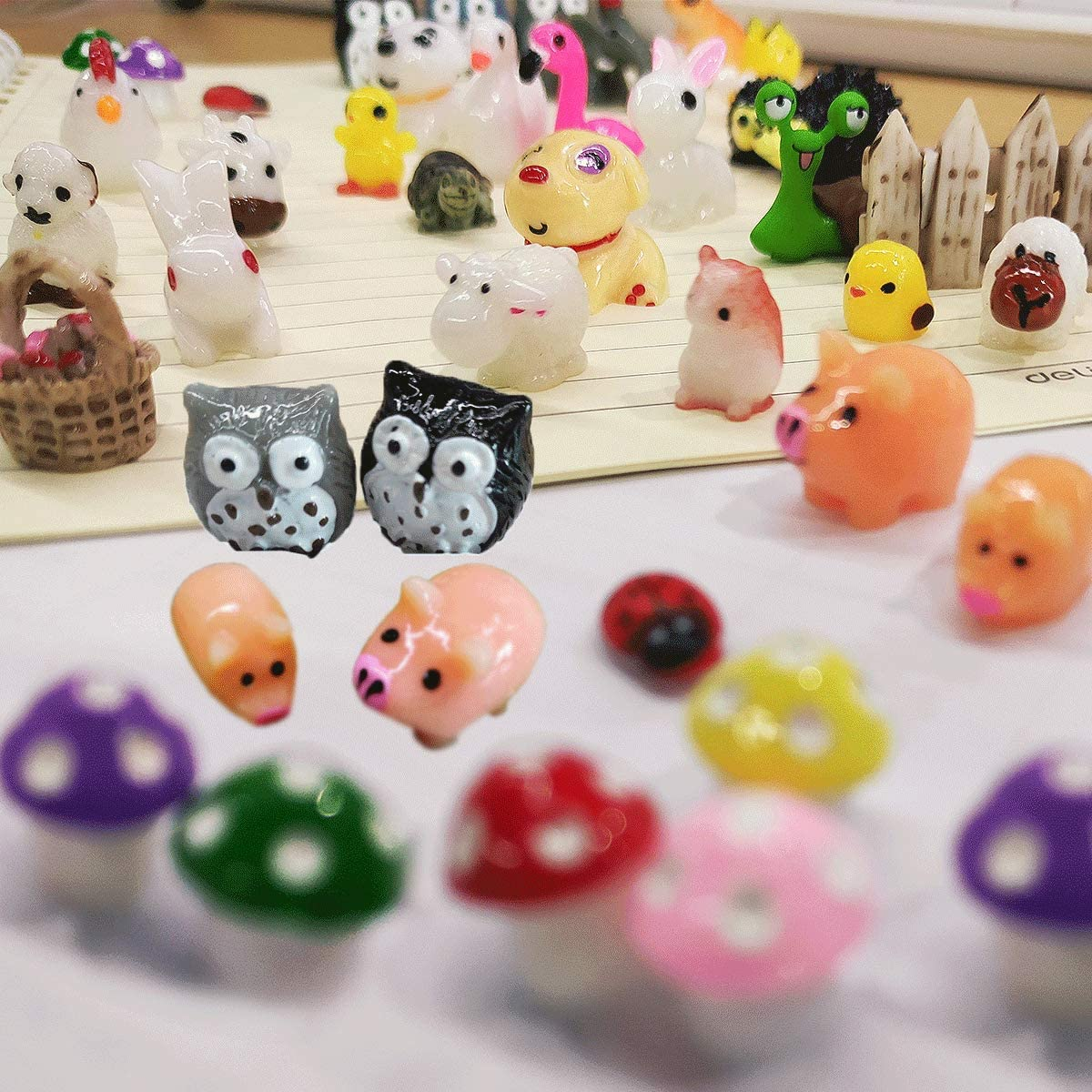 70 Pieces Mini Animals My Fairy Garden Fairy Garden Accessories, Outdoor Fairy House Accessories for DIY, Mini Animal Model Decorative Moss Miniature Ornament Kit Best Gifts Party Gifts