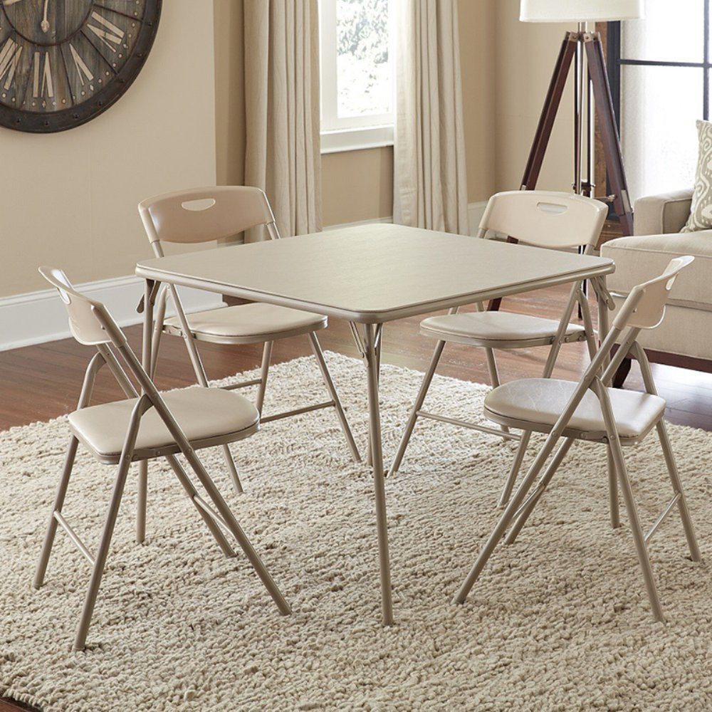 Natural Beige 5 Piece Folding Card Table Chairs Set Extra Seating Comfort Padded Seats