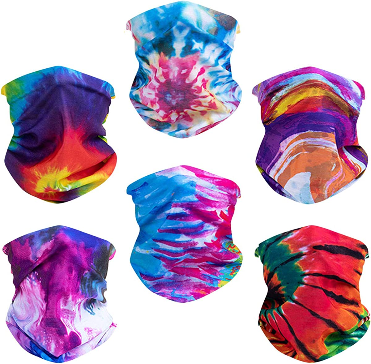 Toes Home 6PCS Outdoor Magic Headband Elastic Seamless Bandana Neck Gaiter Scarf UV Resistence Sport Headwear Boho Series for Yoga Hiking Riding Motorcycling