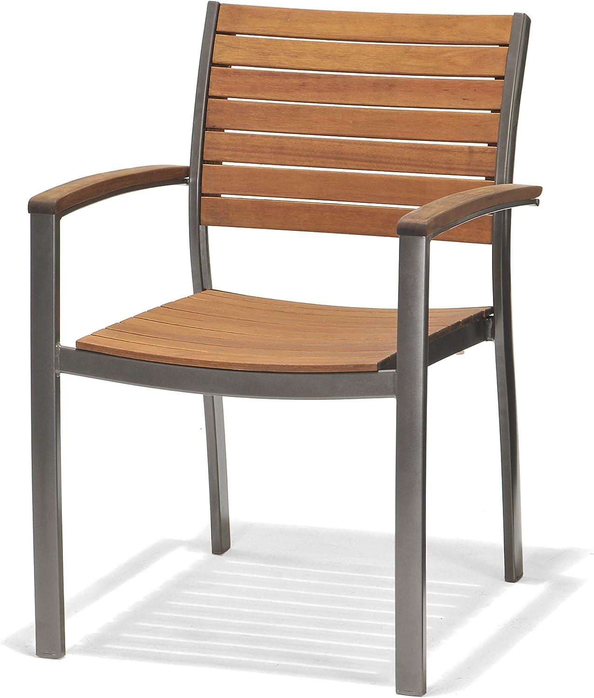 Chillvert 50021001155519 - Silla con Brazos Madera Eucalipto y Aluminio 60x55x85 cm: Amazon.es: Jardín