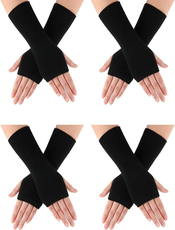 4 Pares de Guantes de Invierno Mu/ñeca sin Dedos Estilo de Cachemira con Orificio para Pulgar Guantes C/álidos de Cachemira Unisexes Negro