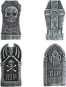 TOYMYTOY Halloween Foam Graveyard Tombstones (4 Pack), RIP Gravestone Graveyard Haunted House Decorations for Halloween Yard Decorations