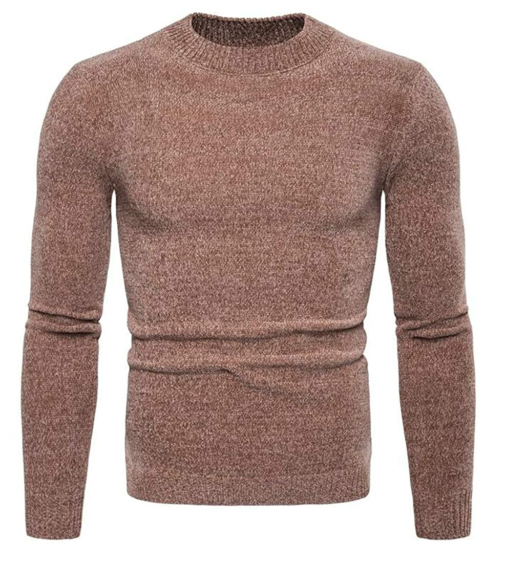 Conffetti Mens Slim Pure Color Pullover Crewneck Knitted Casual Sweater