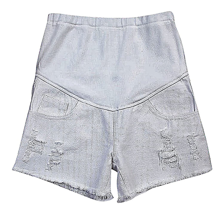 Flora, Women's Maternity Shorts A Line White Denim Raw Hem Full Panel Ripped