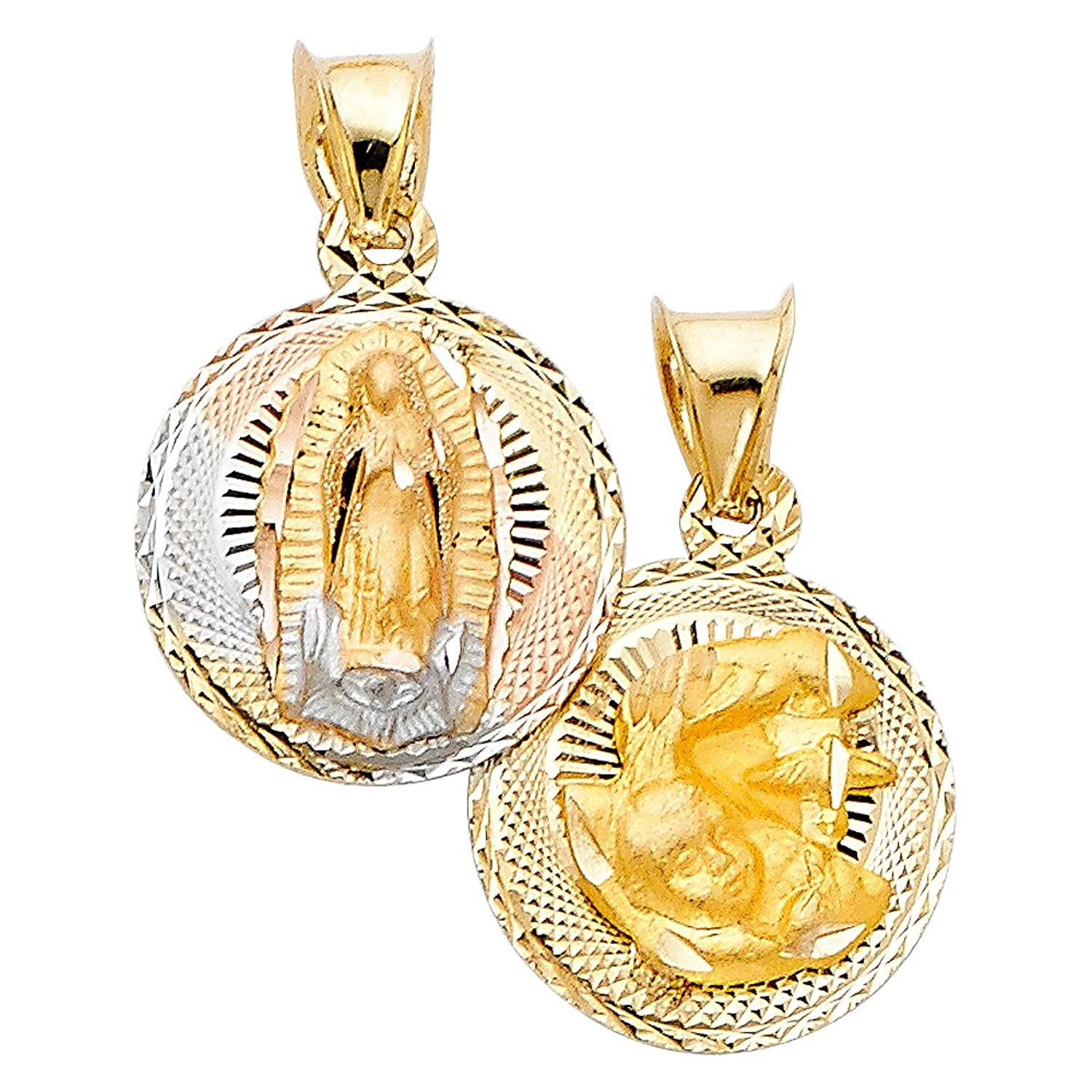 14k Tri Color Gold DC Double Side Stamp Religious Pendant Charm