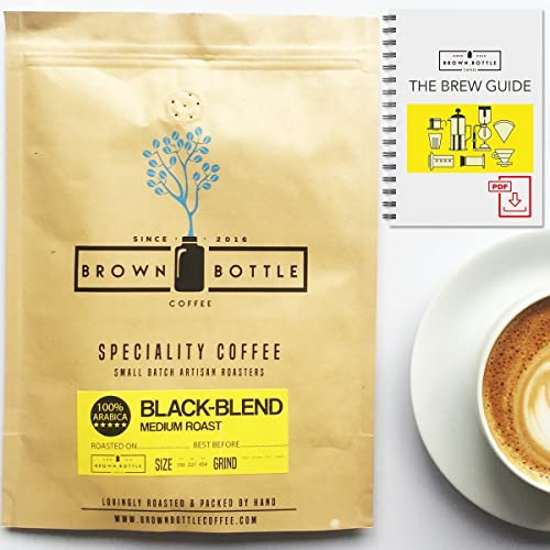 250 Grams Whole Beans Brown Bottle Coffee House Black Blend Ground Coffee or Whole Beans | Strong Medium Roast Coffee Blend Perfect for Espresso Coffee Cafetiere Filter or Moka Pot | 100% Arabica Beans Speciality Coffee | RFA | Fair Trade Organic