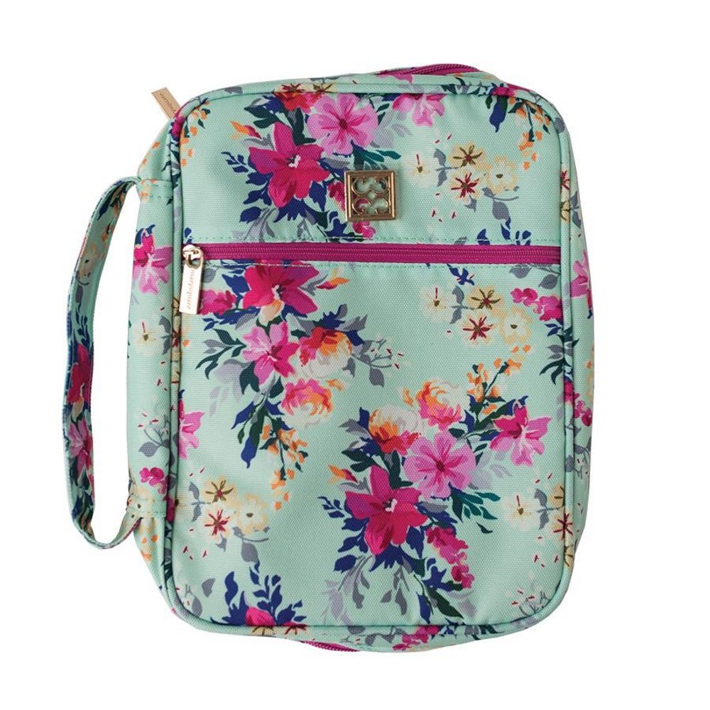 Lexington Floral 8 x 10.5 Inch Polyester Zippered Bible Cover Case with Handle