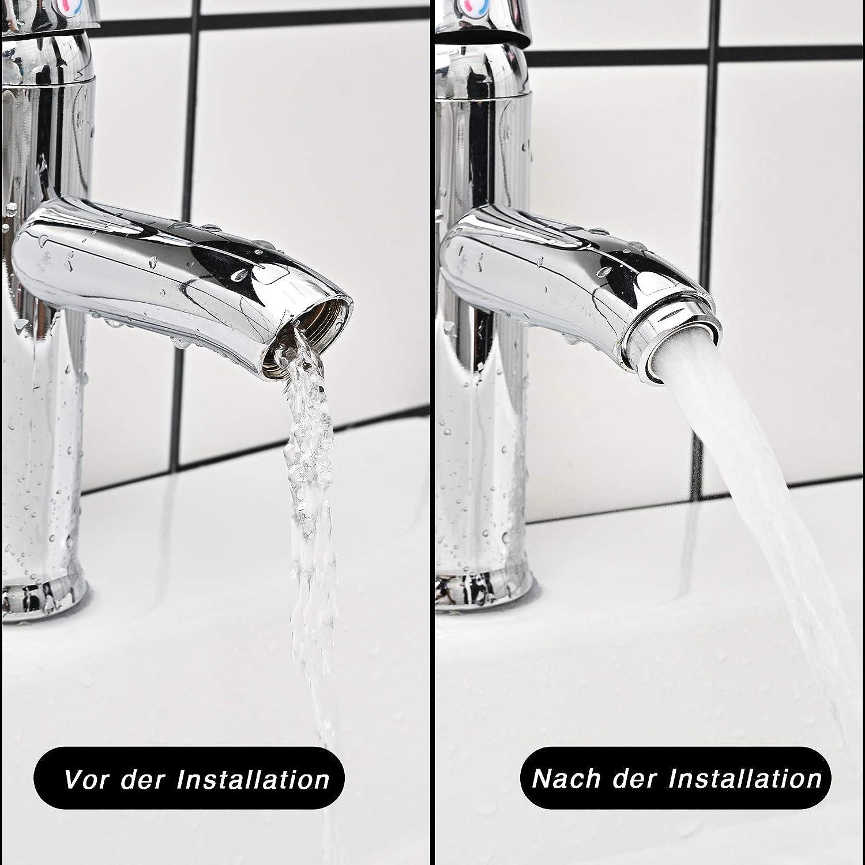 aeratore per rubinetti filtro per rubinetto 6 pezzi aeratore con filtro in acciaio inox e ABS tra cui 8 guarnizioni e 1 chiave per aeratore cromato con ugello di miscelazione Aeratore M24