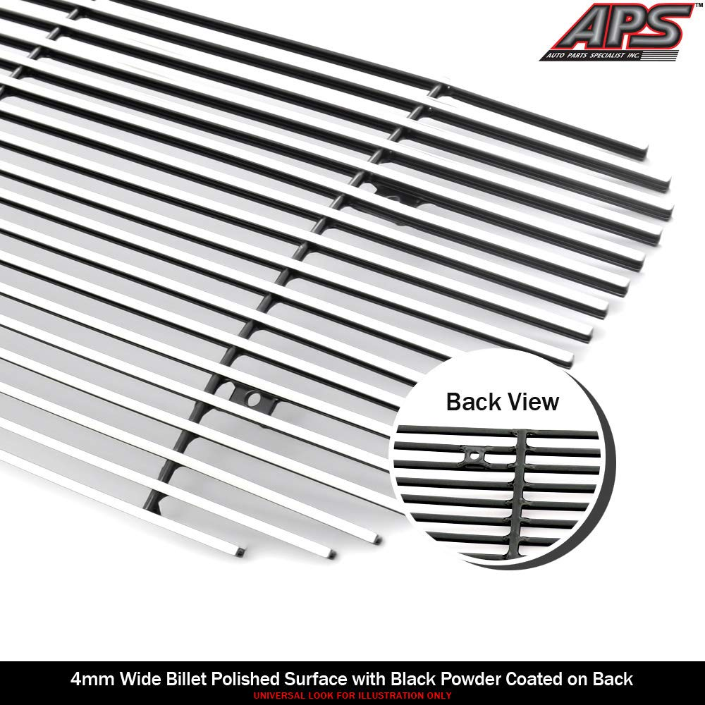 APS Stainless Steel 304 Billet Grille Grill Custome Compatible with 99-02 Silverado 1500 00-06 Suburban Tahoe