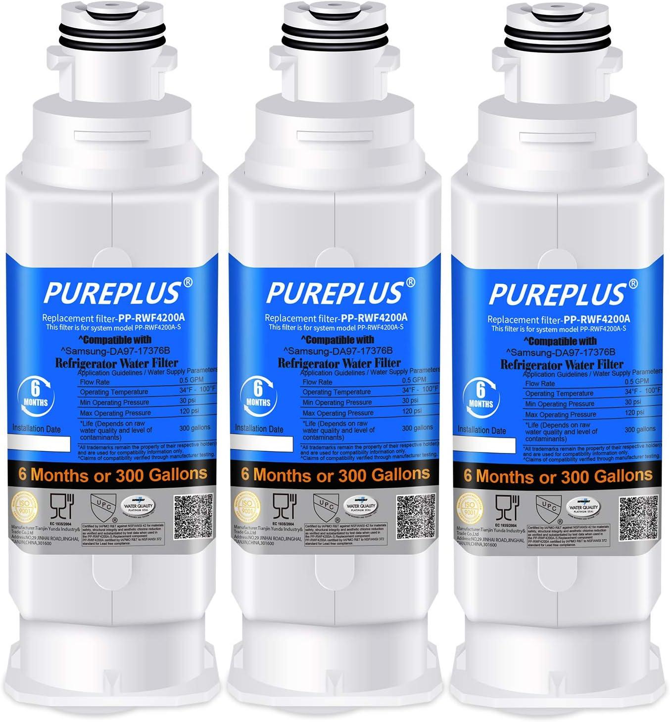 PUREPLUS DA97-17376B Replacement for Samsung HAF-QIN, HAF-QIN/EXP, DA97-08006C, RF23M8070SG, RF23M8070SR, RF23M8090SG, RF23M8090SR, RF23M8570SR, RF23M8590SG Refrigerator Water Filter, 3Pack