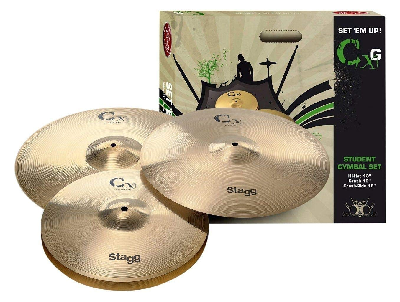 Stagg CXG-SET Brass Starter Cymbal Set with 13-Inch Hi-Hats, 16-Inch Crash and 18-Inch Crash Ride Cymbal by Stagg