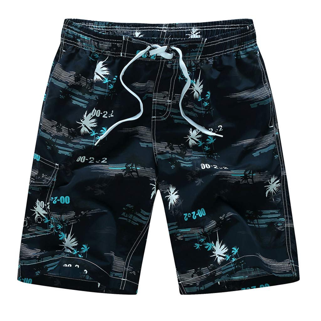 Jiayit 2019 Men Teen Boys Swim Trunks Plus Size Fashion Casual Printing Patchwork Beach Surfing Loose Shorts Pants Men's Holiday Travel Style
