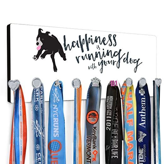 Amazon.com : Happiness Is Running With Your Dog Hook Board by Gone For a Run | Running | Black : Sports & Outdoors
