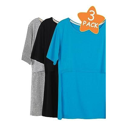 a82989530eb46 Smallshow 3 Pcs Maternity Nursing T-Shirt Nursing Tops,Lake  Blue-Black-Grey,XX-Large