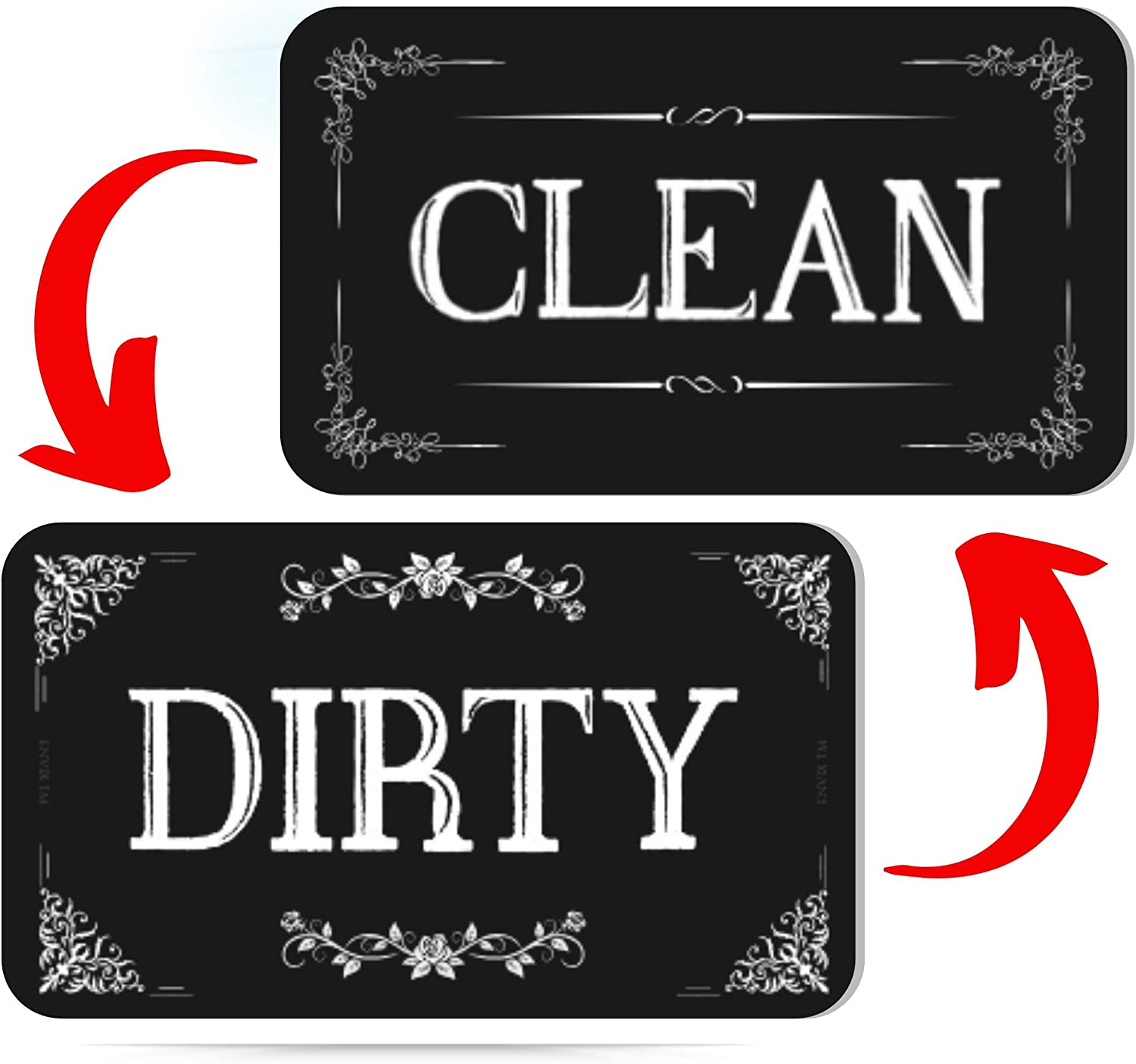 Clean Dirty Dishwasher Magnet Sign - Strongest Magnet Double Sided Flip - With Bonus Metal Magnetic Plate - Universal Kitchen Dish Washer Reversible Indicator
