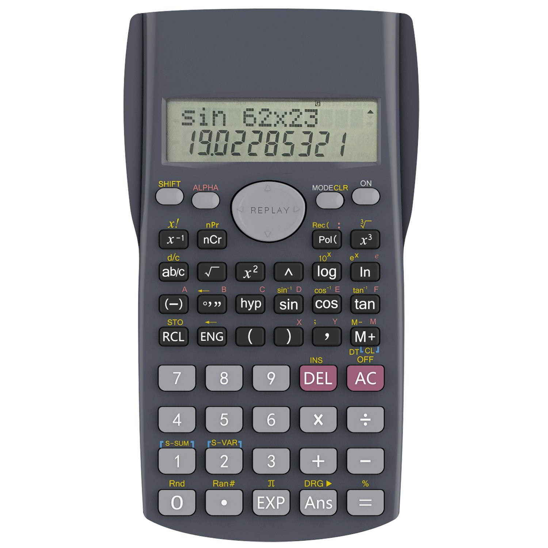Calcolatrice Scientifica, Helect 2 Righe Calcolatrice Scientifica Elettronica tascabile tecnico-scientifica - H1002 H-1002-Calculator-SCI-BK