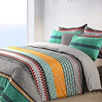 Elegance Quilt Cover King – Luxurious Quilt Cover King Set – Multicolor - Grey Green Mustard Red Black - Pure Cotton…