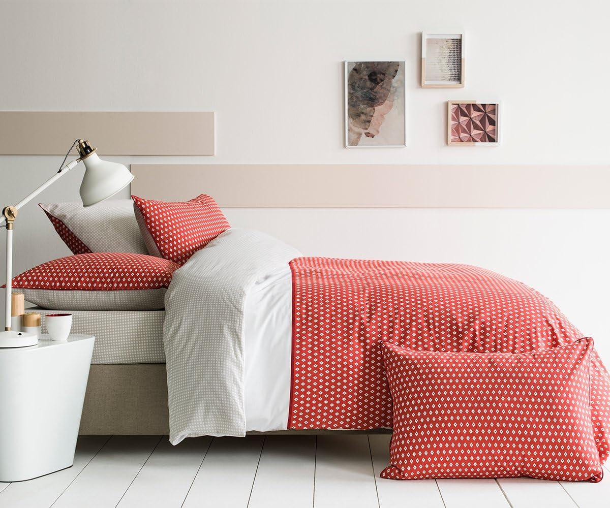 Matt /& Rose Esprit G/éom/étrique Taie dOreiller Coton Brique//Gris//Blanc 65 X 65 cm