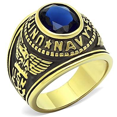 4aa66de70a8 ISADY - US Navy Gold Acier Saphir - Bague Homme - Chevalière - Acier - Oxyde