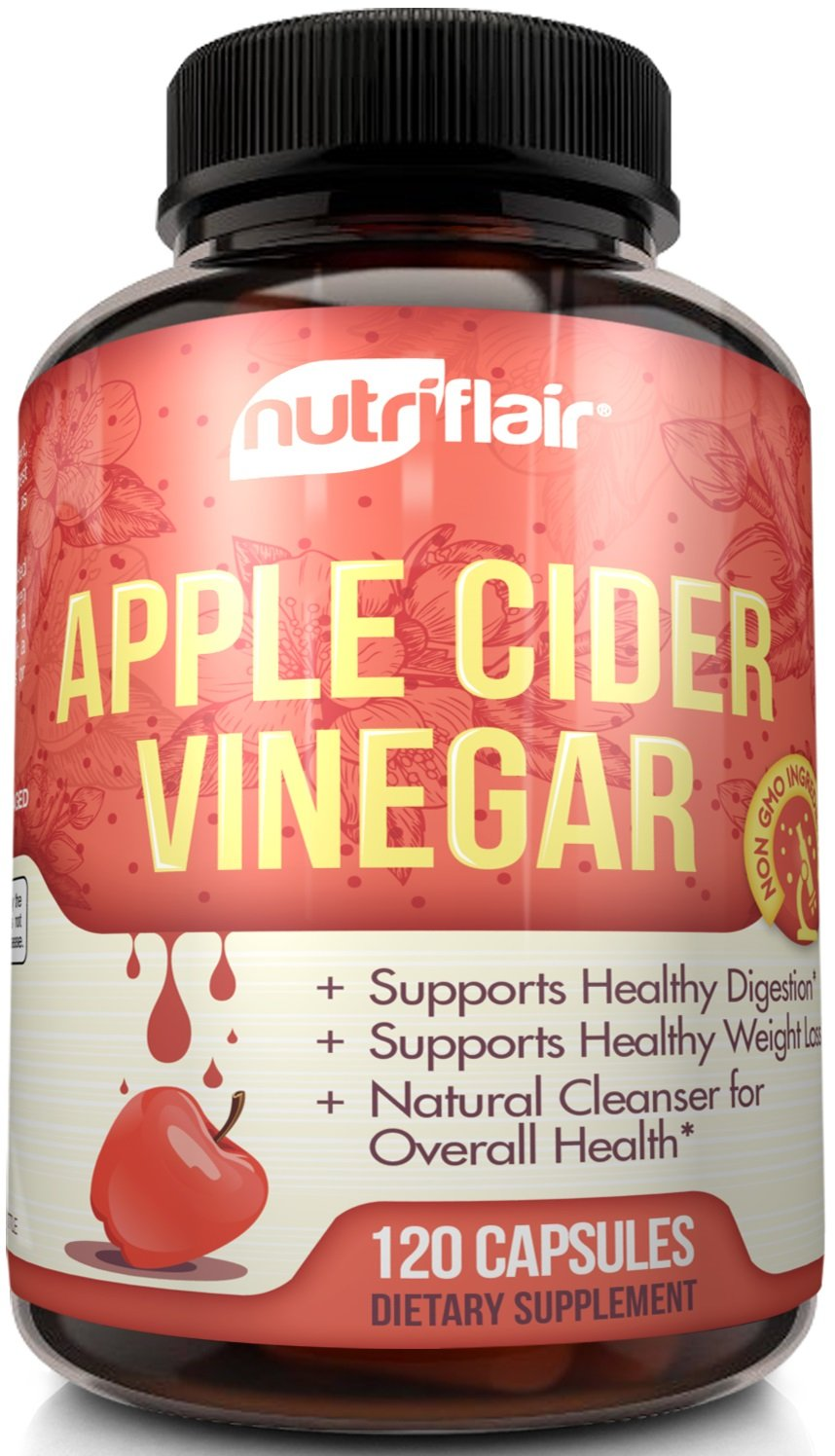 Apple Cider Vinegar Pills Extra Strength 1250MG Daily (120 VEGETABLE CAPSULES) -Tested & Proven Results or Money Back - All Natural Non GMO Cider Capsules Supplement for Weight Loss, Detox & Digestion
