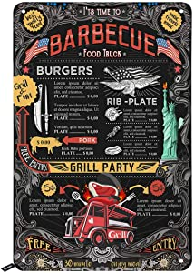 Swono Its Time to Barbecue Tin Signs,Food Truck Grill Party on Black Background Vintage Metal Tin Sign for Men Women,Wall Decor for Bars,Restaurants,Cafes Pubs,12x8 Inch