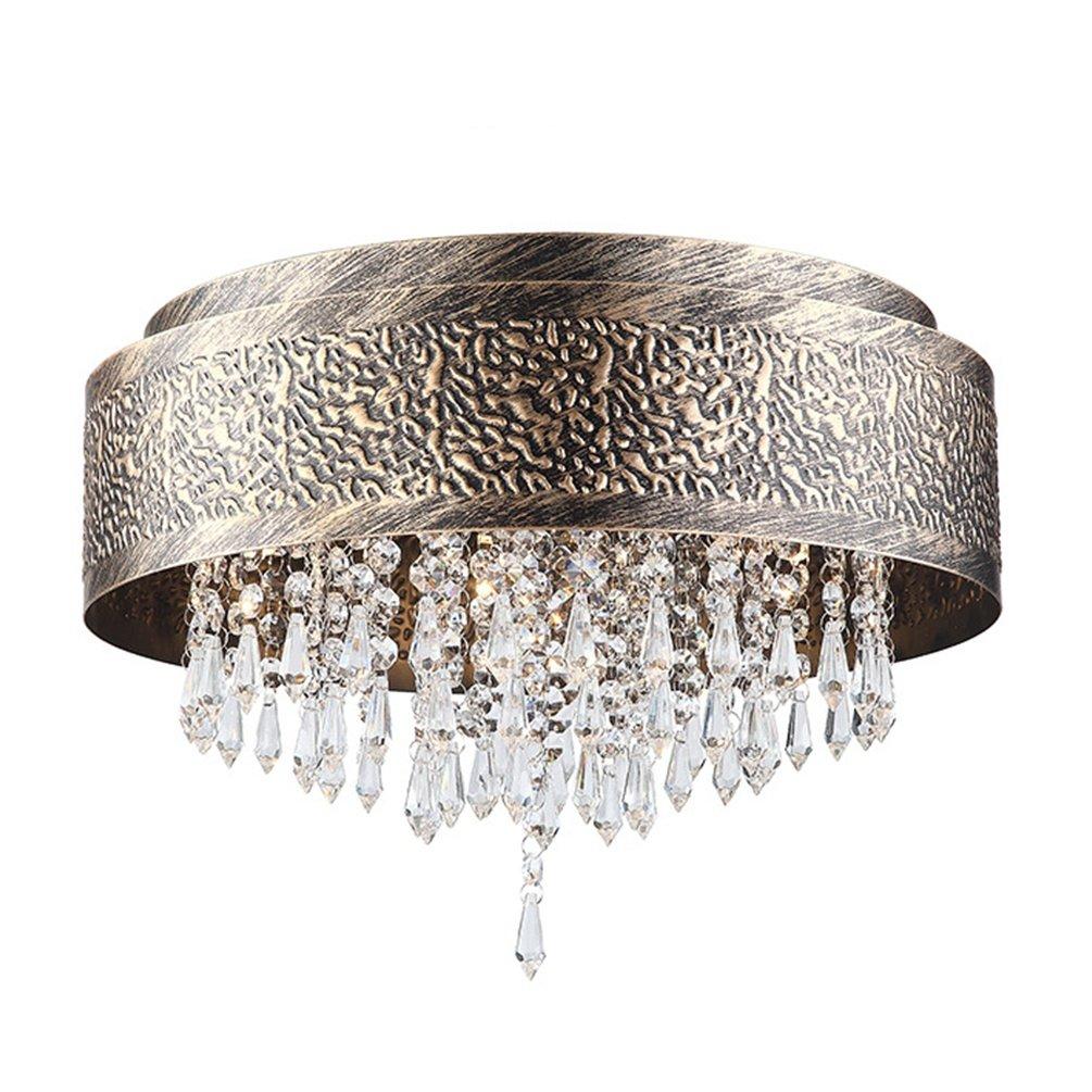 Vintage Antik Kristall Deckenleuchte Metall Design Lampe Deckenlampe E14 MAX.40W 5-flammige Wohnzimmer Decke leuchten Ø40cm H30cm Messing Schlafzimmer Lampe Decke Deko-Esstischlampe Runde 230V