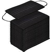 TecUnite 100 Piezas de Cubreboca de Filtro de Polvo Mascarilla de Boca Desechable Respirable con Aros de Oreja Elásticos (Negro)