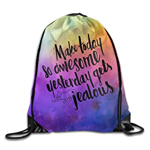 Make Today Awesome Quotes Custom String Tote Bag For Outing