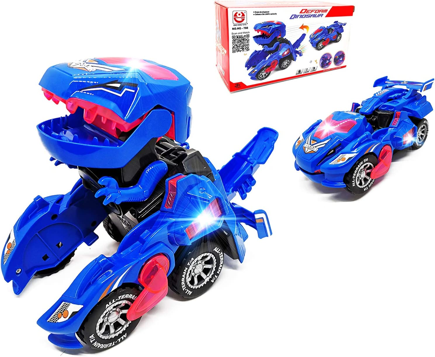Dinosaur transforming gift toy for boys, blue and red color