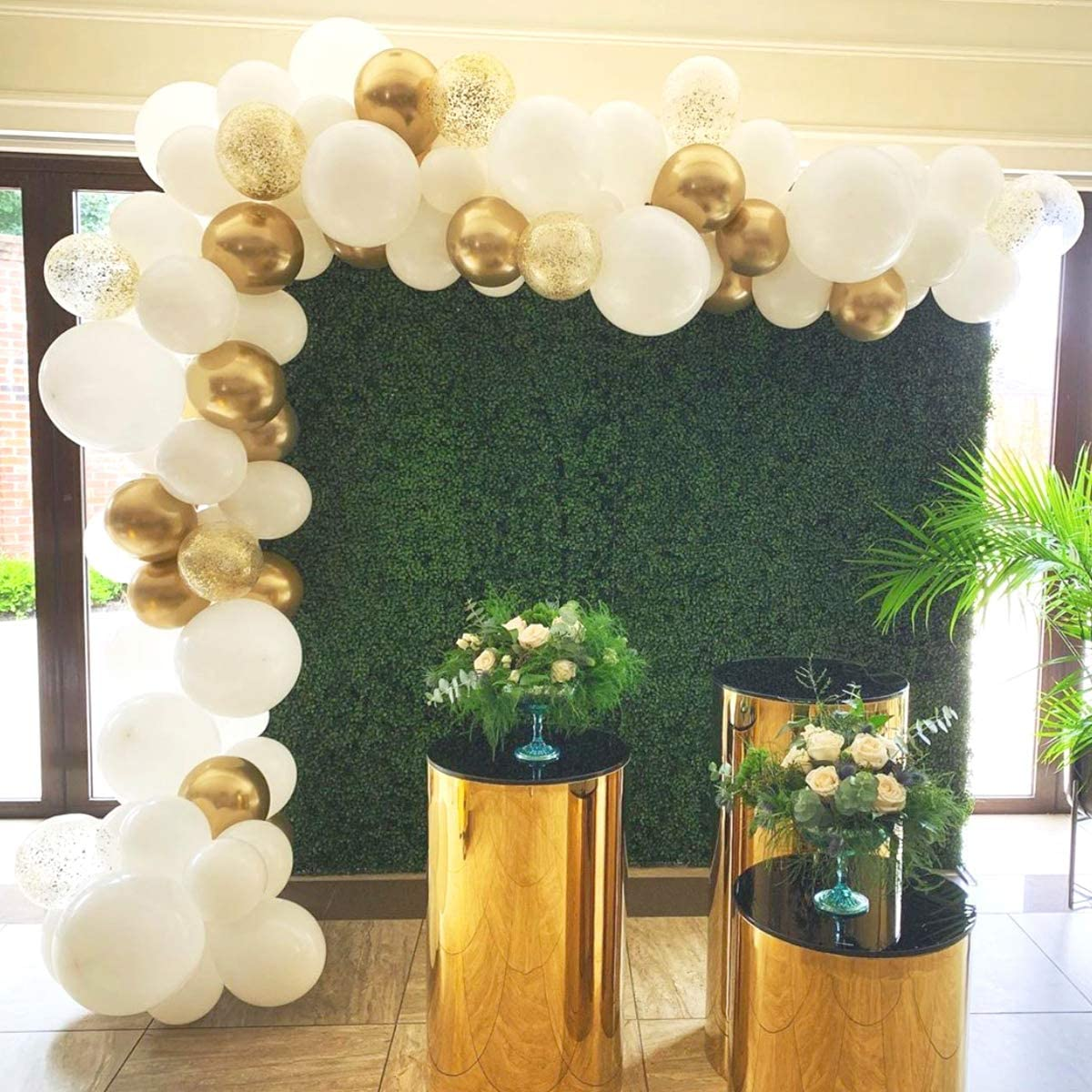 Wedding Birthday. 113 Pcs White Gold Confetti Balloon Garland Tropical Palm Leaves Greenery for Baby Shower Decorations Balloon Garland Arch Kit