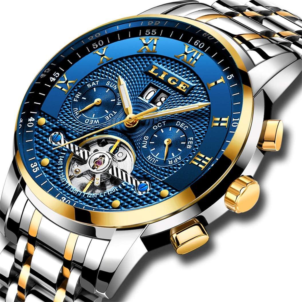 LIGE Relojes Hombre Moda Acero Inoxidable Impermeables Mecánico Automático Reloj Hombre Lujoso Comercio Calendario Militar Deportivo con Números Romanos Dial