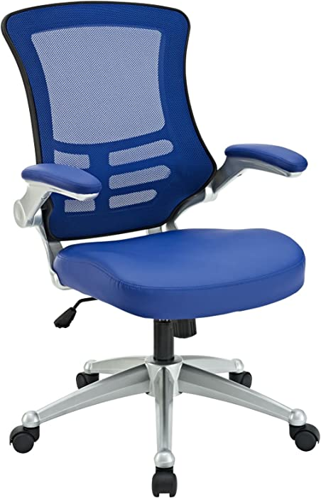Modway Attainment Mesh Back and Vinyl SeatModern Office Chair in Blue