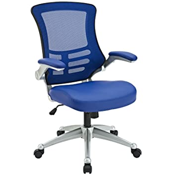 Modway Attainment Mesh Back And Blue Vinyl Modern Office Chair With Flip Up  Arms