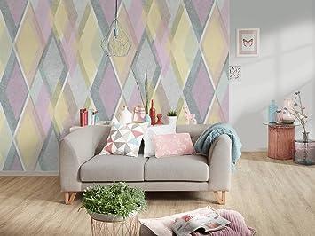 Awallo Fototapete Motiv Rauten Lila In Gelb Lila Grau Weiß In 400x250cm  Bild Tapete Wand