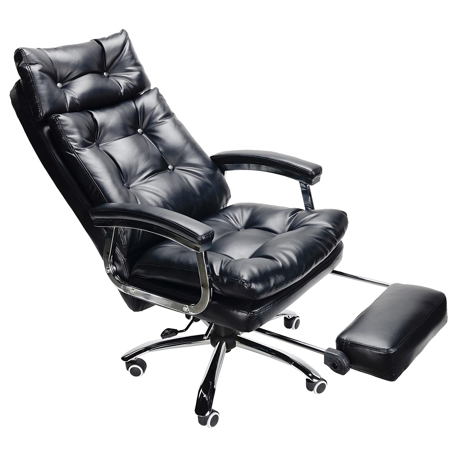 gm reclining ebay bk ergonomic office recliner armchair itm footrest chair high executive back leather