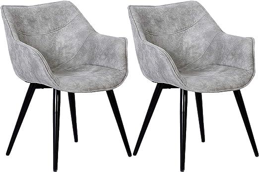 WOLTU Esszimmerstühle BH99hgr 2 2er Set Küchenstühle Wohnzimmerstuhl Polsterstuhl Design Stuhl mit Armlehne Stoffbezug Gestell aus Stahl