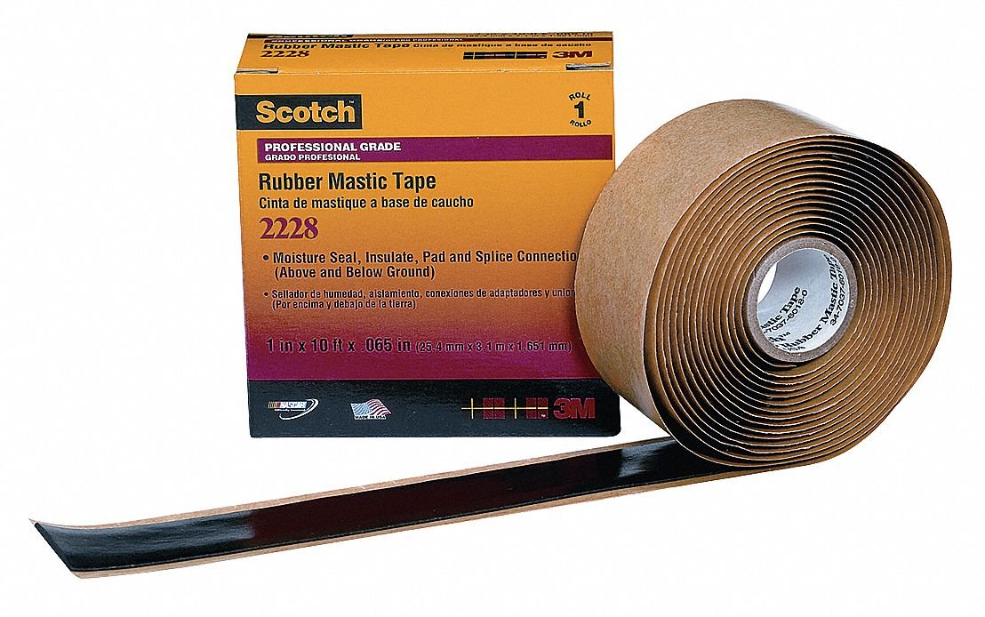 BlackRubber Mastic Tape 1'' Width, 10 ft. Length, 65 mil Thickness 2228 1''X10'