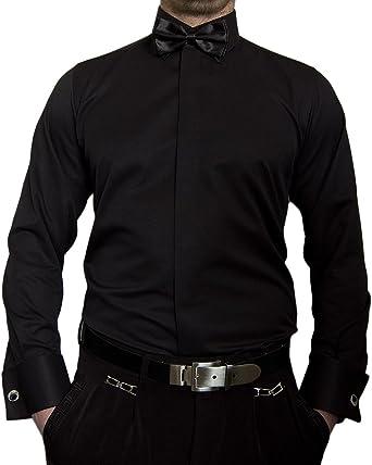 Paco Romano - Camisa de diseño para fumar + pajarita + gemelos Slim Fit para hombre, color negro, blanco y beige