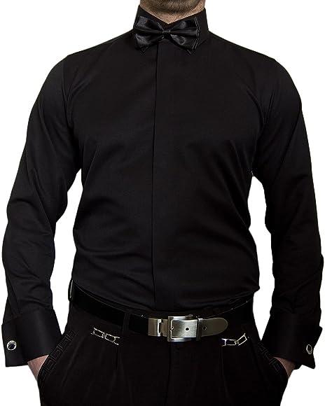 Paco Romano - Camisa de diseño para fumar + pajarita + gemelos Slim Fit para hombre, color negro, blanco y beige Negro S: Amazon.es: Ropa y accesorios