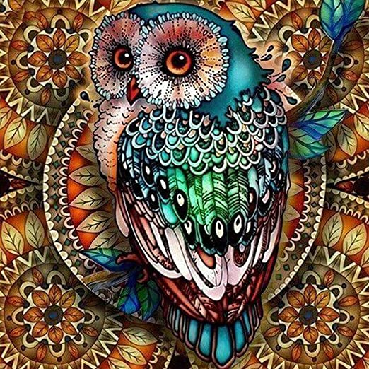 Full 5D DIY Drill Diamond Mosaic Colorful Owl Cross Craft Stitch Kits Handmade