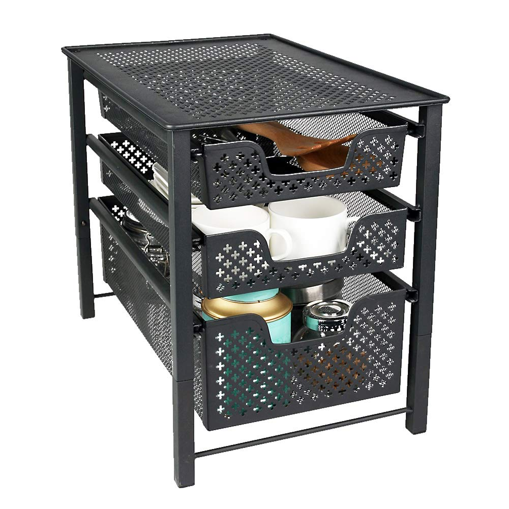 MustQ Stackable 3 Tier Organizer Baskets with Mesh Sliding Drawers, Ideal Cabinet, Countertop, Pantry, Under The Sink, and Desktop Organizer for Bathroom,Kitchen, Office. by MustQ